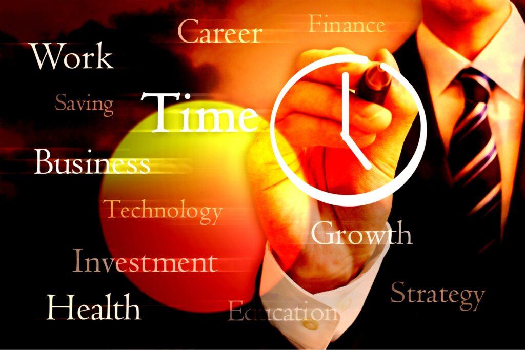 時間を管理するビジネスマン